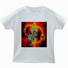 Crazy Mandelbrot Fractal Red Yellow Turquoise Kids White T Shirts by EDDArt
