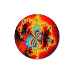 Crazy Mandelbrot Fractal Red Yellow Turquoise Magnet 3  (round) by EDDArt