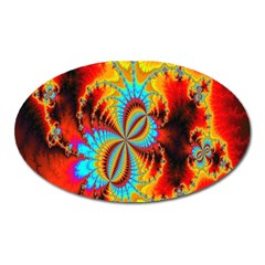 Crazy Mandelbrot Fractal Red Yellow Turquoise Oval Magnet by EDDArt