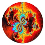 Crazy Mandelbrot Fractal Red Yellow Turquoise Magnet 5  (Round) Front