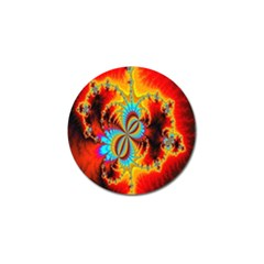 Crazy Mandelbrot Fractal Red Yellow Turquoise Golf Ball Marker by EDDArt