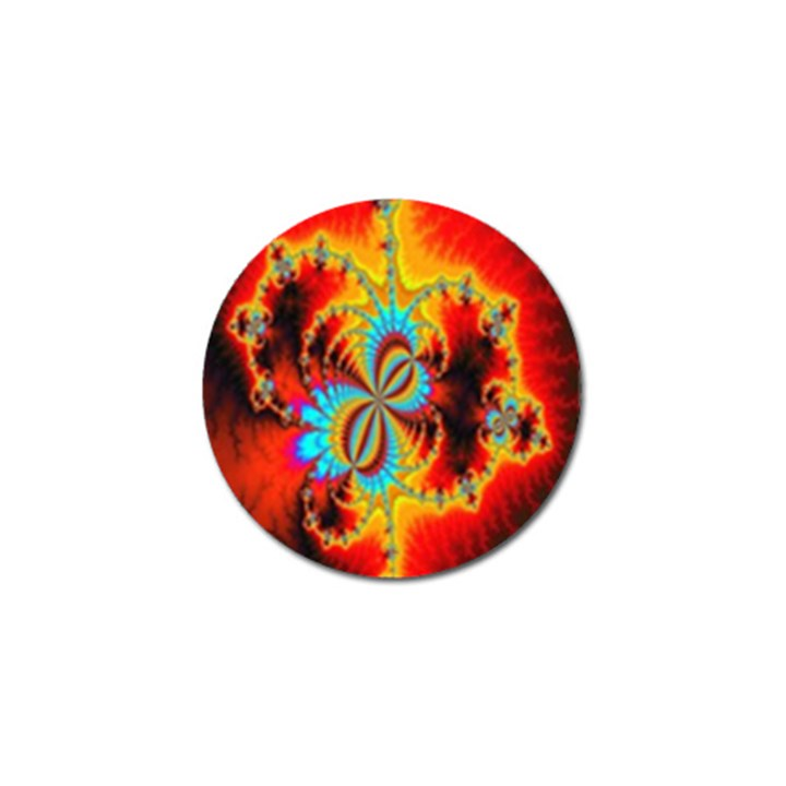 Crazy Mandelbrot Fractal Red Yellow Turquoise Golf Ball Marker