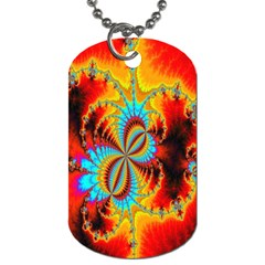 Crazy Mandelbrot Fractal Red Yellow Turquoise Dog Tag (two Sides) by EDDArt