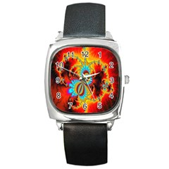 Crazy Mandelbrot Fractal Red Yellow Turquoise Square Metal Watch by EDDArt