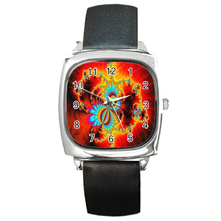 Crazy Mandelbrot Fractal Red Yellow Turquoise Square Metal Watch