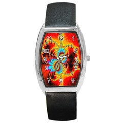 Crazy Mandelbrot Fractal Red Yellow Turquoise Barrel Style Metal Watch