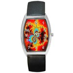 Crazy Mandelbrot Fractal Red Yellow Turquoise Barrel Style Metal Watch Front