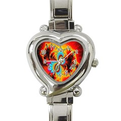 Crazy Mandelbrot Fractal Red Yellow Turquoise Heart Italian Charm Watch by EDDArt