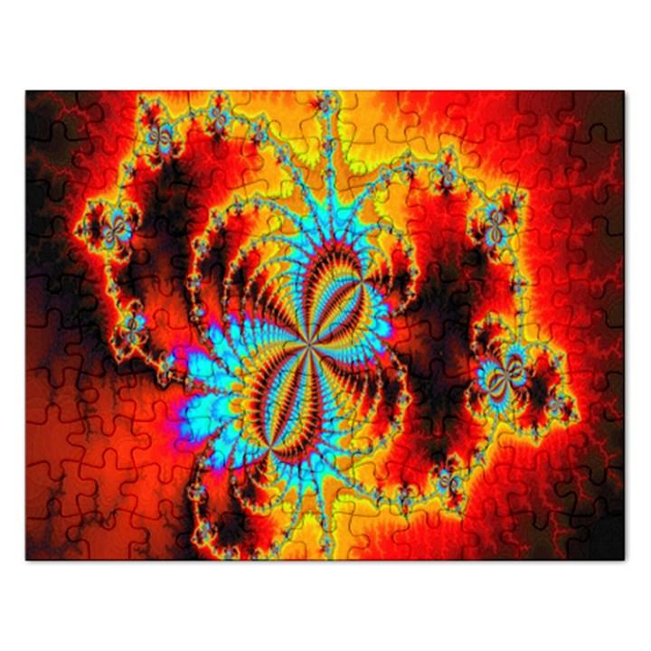 Crazy Mandelbrot Fractal Red Yellow Turquoise Rectangular Jigsaw Puzzl