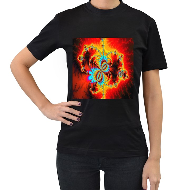 Crazy Mandelbrot Fractal Red Yellow Turquoise Women s T-Shirt (Black) (Two Sided)