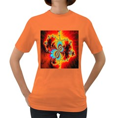 Crazy Mandelbrot Fractal Red Yellow Turquoise Women s Dark T Shirt