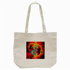 Crazy Mandelbrot Fractal Red Yellow Turquoise Tote Bag (cream)