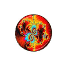 Crazy Mandelbrot Fractal Red Yellow Turquoise Hat Clip Ball Marker by EDDArt