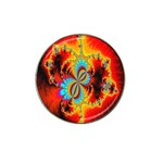 Crazy Mandelbrot Fractal Red Yellow Turquoise Hat Clip Ball Marker Front