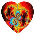 Crazy Mandelbrot Fractal Red Yellow Turquoise Jigsaw Puzzle (Heart) Front