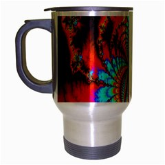 Crazy Mandelbrot Fractal Red Yellow Turquoise Travel Mug (silver Gray) by EDDArt