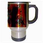 Crazy Mandelbrot Fractal Red Yellow Turquoise Travel Mug (Silver Gray) Right