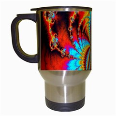Crazy Mandelbrot Fractal Red Yellow Turquoise Travel Mugs (white) by EDDArt