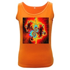 Crazy Mandelbrot Fractal Red Yellow Turquoise Women s Dark Tank Top