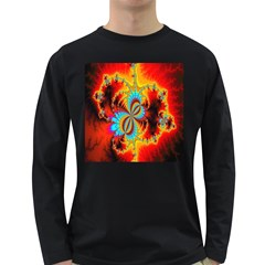 Crazy Mandelbrot Fractal Red Yellow Turquoise Long Sleeve Dark T Shirts by EDDArt