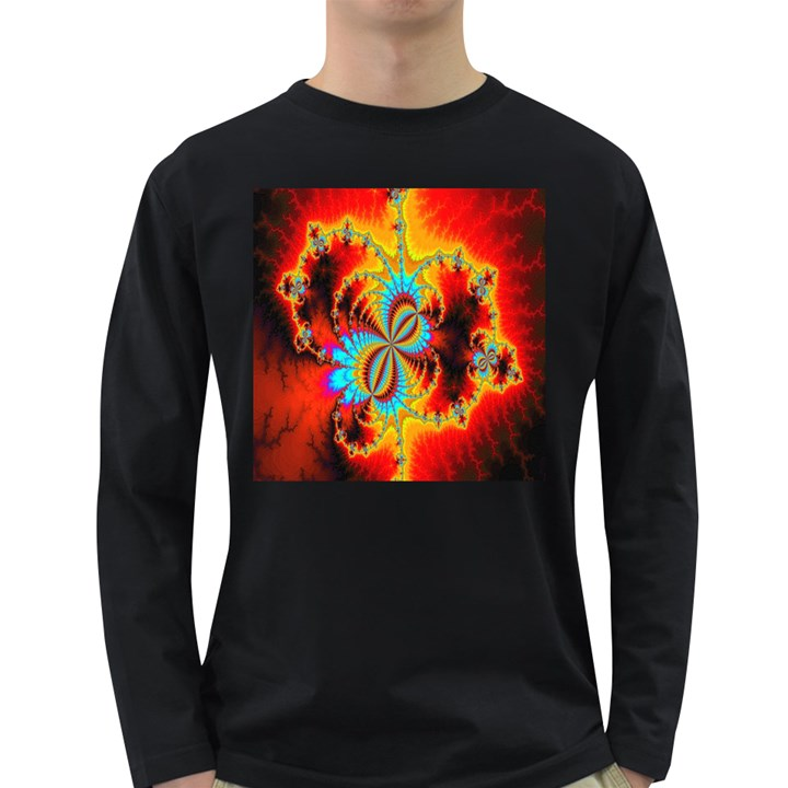 Crazy Mandelbrot Fractal Red Yellow Turquoise Long Sleeve Dark T-Shirts