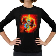 Crazy Mandelbrot Fractal Red Yellow Turquoise Women s Long Sleeve Dark T Shirts by EDDArt