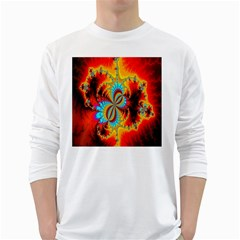 Crazy Mandelbrot Fractal Red Yellow Turquoise White Long Sleeve T Shirts by EDDArt