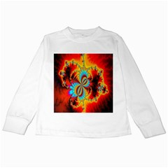 Crazy Mandelbrot Fractal Red Yellow Turquoise Kids Long Sleeve T Shirts by EDDArt