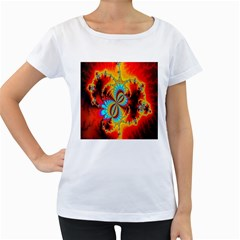 Crazy Mandelbrot Fractal Red Yellow Turquoise Women s Loose Fit T Shirt (white)