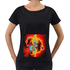 Crazy Mandelbrot Fractal Red Yellow Turquoise Women s Loose Fit T Shirt (black) by EDDArt