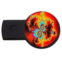 Crazy Mandelbrot Fractal Red Yellow Turquoise Usb Flash Drive Round (4 Gb)  by EDDArt
