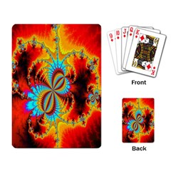 Crazy Mandelbrot Fractal Red Yellow Turquoise Playing Card by EDDArt