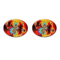 Crazy Mandelbrot Fractal Red Yellow Turquoise Cufflinks (oval) by EDDArt