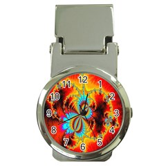Crazy Mandelbrot Fractal Red Yellow Turquoise Money Clip Watches by EDDArt