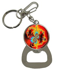 Crazy Mandelbrot Fractal Red Yellow Turquoise Bottle Opener Key Chains