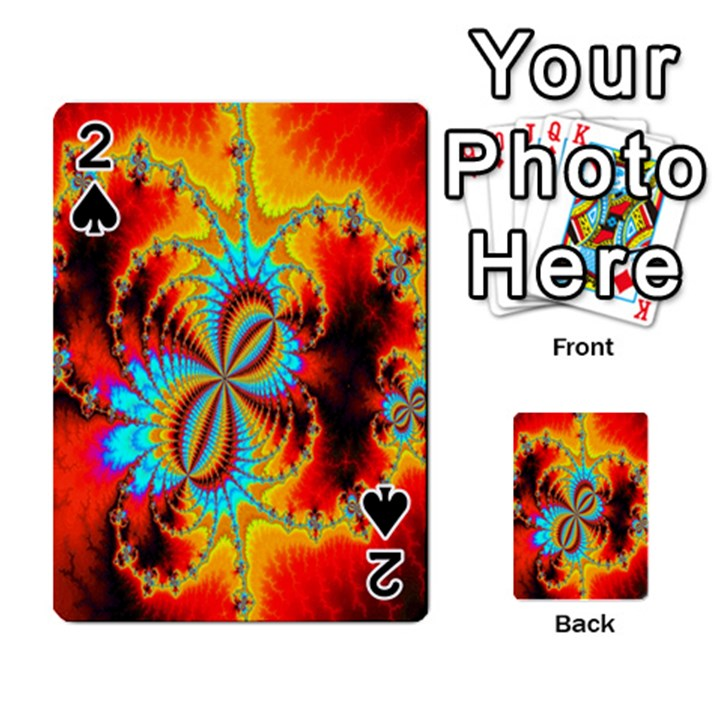 Crazy Mandelbrot Fractal Red Yellow Turquoise Playing Cards 54 Designs
