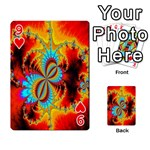 Crazy Mandelbrot Fractal Red Yellow Turquoise Playing Cards 54 Designs  Front - Heart9
