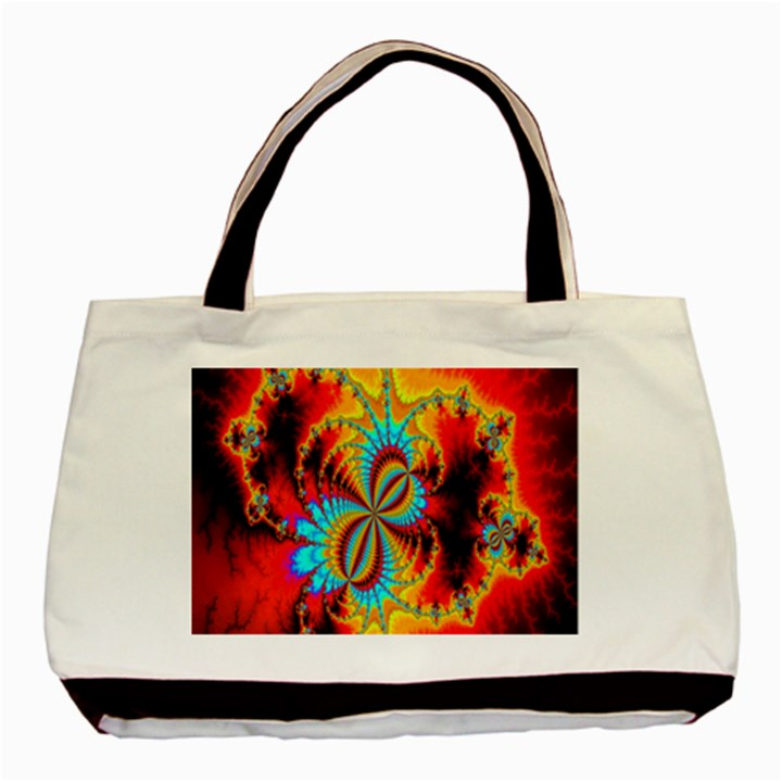 Crazy Mandelbrot Fractal Red Yellow Turquoise Basic Tote Bag