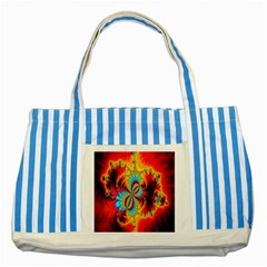 Crazy Mandelbrot Fractal Red Yellow Turquoise Striped Blue Tote Bag by EDDArt
