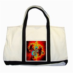 Crazy Mandelbrot Fractal Red Yellow Turquoise Two Tone Tote Bag by EDDArt