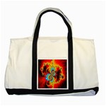 Crazy Mandelbrot Fractal Red Yellow Turquoise Two Tone Tote Bag Front