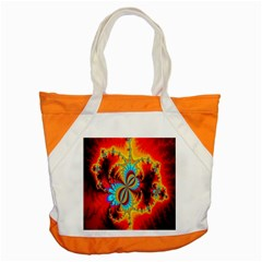 Crazy Mandelbrot Fractal Red Yellow Turquoise Accent Tote Bag by EDDArt