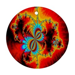 Crazy Mandelbrot Fractal Red Yellow Turquoise Round Ornament (two Sides)  by EDDArt