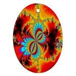 Crazy Mandelbrot Fractal Red Yellow Turquoise Oval Ornament (Two Sides) Back