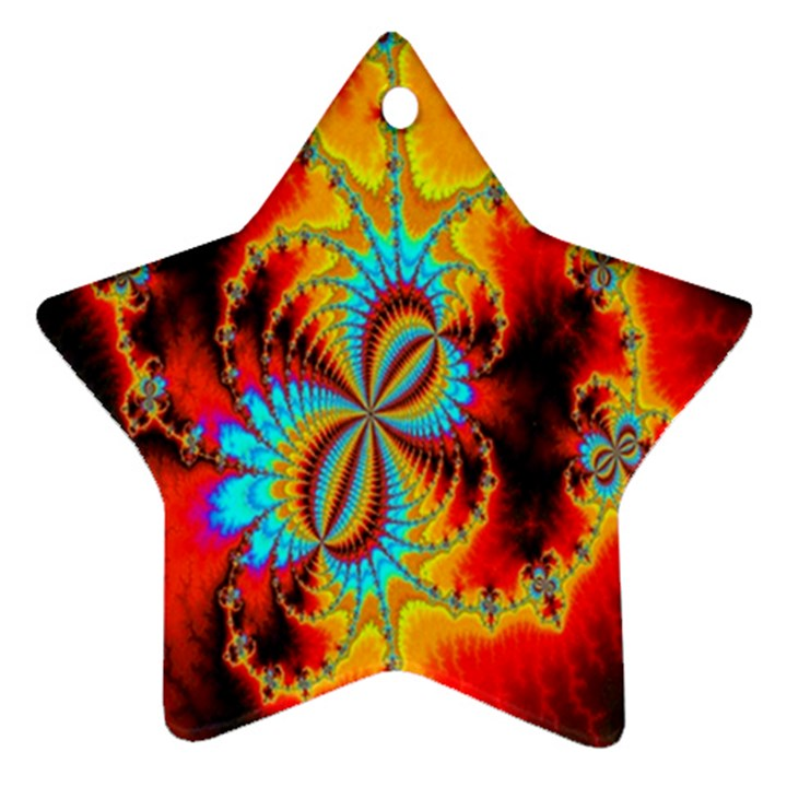 Crazy Mandelbrot Fractal Red Yellow Turquoise Star Ornament (Two Sides)
