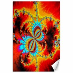 Crazy Mandelbrot Fractal Red Yellow Turquoise Canvas 24  X 36  by EDDArt