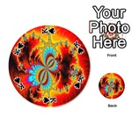 Crazy Mandelbrot Fractal Red Yellow Turquoise Playing Cards 54 (Round)  Front - SpadeK