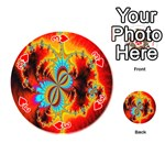 Crazy Mandelbrot Fractal Red Yellow Turquoise Playing Cards 54 (Round)  Front - Heart3
