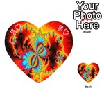 Crazy Mandelbrot Fractal Red Yellow Turquoise Playing Cards 54 (Heart)  Front - Heart5