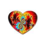 Crazy Mandelbrot Fractal Red Yellow Turquoise Heart Coaster (4 pack)  Front